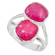 12.34cts natural pink ruby rough 925 sterling silver ring jewelry size 8 r49154