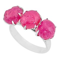 12.43cts natural pink ruby raw 925 sterling silver ring jewelry size 8 t7065