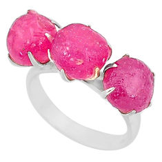 14.83cts natural pink ruby raw 925 sterling silver ring jewelry size 8 t7080