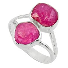11.23cts natural pink ruby rough 925 sterling silver ring jewelry size 9 r49137