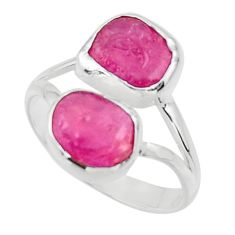 10.31cts natural pink ruby rough 925 sterling silver ring size 9.5 r49138