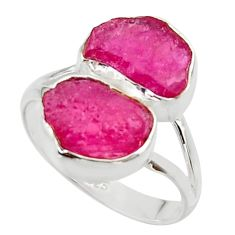 10.02cts natural pink ruby rough 925 sterling silver ring size 8.5 r49155