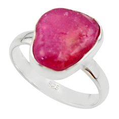 5.11cts natural pink ruby rough 925 sterling silver solitaire ring size 6 r49002