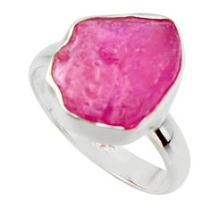 5.64cts natural pink ruby rough 925 sterling silver solitaire ring size 7 r49004