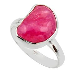 5.82cts natural pink ruby rough 925 sterling silver solitaire ring size 8 r49005
