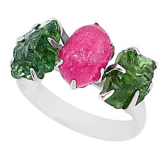 9.83cts natural pink ruby raw apatite rough 925 silver ring size 7 t7043