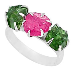 9.37cts natural pink ruby raw apatite rough 925 silver ring size 7 t7046