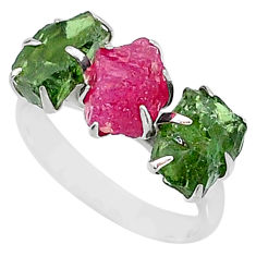 10.30cts natural pink ruby raw apatite rough 925 silver ring size 8 t7058