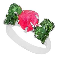 10.19cts natural pink ruby raw apatite rough fancy silver ring size 8 t7044