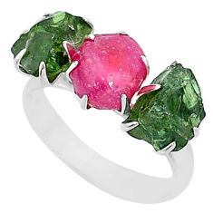 10.19cts natural pink ruby raw apatite rough fancy silver ring size 8 t7079