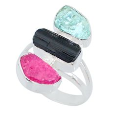 13.24cts natural pink ruby raw aquamarine rough 925 silver ring size 8 r73697