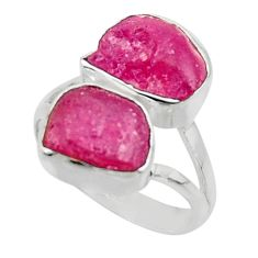 11.23cts natural pink ruby rough fancy 925 sterling silver ring size 7.5 r49121