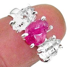 7.66cts natural pink ruby raw herkimer diamond 925 silver ring size 7 t14111