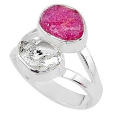 9.29cts natural pink ruby raw herkimer diamond 925 silver ring size 7 t9939