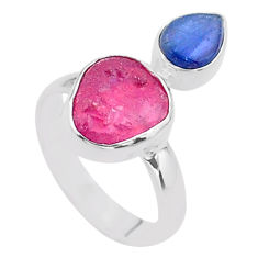 8.80cts natural pink ruby raw kyanite 925 sterling silver ring size 7 t48961