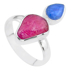 9.32cts natural pink ruby raw kyanite 925 sterling silver ring size 9 t48922