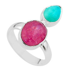 9.56cts natural pink ruby raw peruvian amazonite 925 silver ring size 7 t49841
