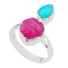 9.56cts natural pink ruby raw peruvian amazonite 925 silver ring size 8 t49843
