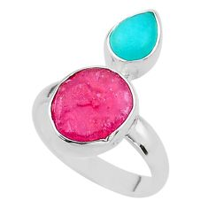 9.97cts natural pink ruby raw peruvian amazonite 925 silver ring size 8 t49850