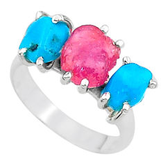 8.75cts natural pink ruby rough raw turquoise 925 silver ring size 7 t15087