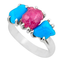 8.73cts natural pink ruby rough raw turquoise 925 silver ring size 8 t15074