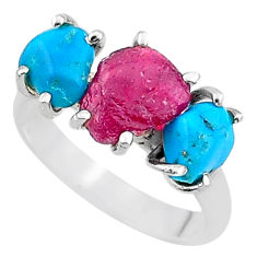 8.32cts natural pink ruby rough raw turquoise 925 silver ring size 8 t15076