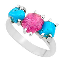 8.73cts natural pink ruby rough raw turquoise 925 silver ring size 9 t15075