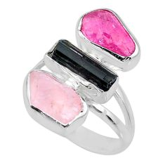 12.52cts natural pink ruby raw rose quartz rough 925 silver ring size 8 r73688