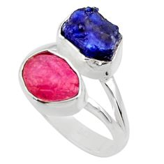 11.66cts natural pink ruby rough sapphire rough 925 silver ring size 8.5 r49128
