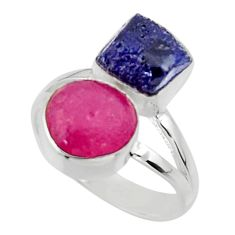 12.07cts natural pink ruby rough sapphire rough 925 silver ring size 7.5 r49140