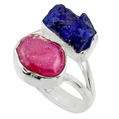 12.07cts natural pink ruby rough sapphire rough 925 silver ring size 7 r49125