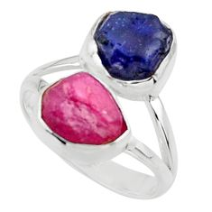 11.23cts natural pink ruby rough sapphire rough 925 silver ring size 8 r49122