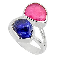 11.66cts natural pink ruby rough sapphire rough 925 silver ring size 8 r49127