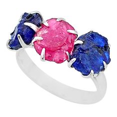 9.86cts natural pink ruby raw sapphire rough 925 silver ring size 8 t7063