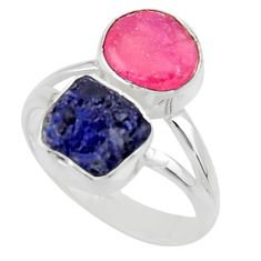 10.78cts natural pink ruby rough sapphire rough 925 silver ring size 9 r49131