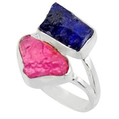 13.28cts natural pink ruby rough sapphire rough 925 silver ring size 9 r49134