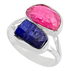 12.83cts natural pink ruby rough sapphire rough 925 silver ring size 9 r49136