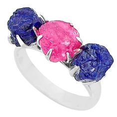 10.71cts natural pink ruby raw sapphire rough 925 silver ring size 9 t7073