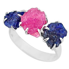 9.88cts natural pink ruby raw sapphire rough fancy silver ring size 7 t7076