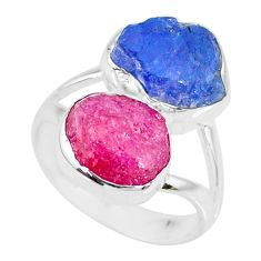 12.03cts natural pink ruby raw tanzanite rough 925 silver ring size 7 r73951