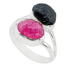 9.61cts natural pink ruby raw tourmaline rough 925 silver ring size 7 t20981