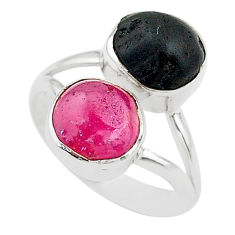 10.29cts natural pink ruby raw tourmaline rough 925 silver ring size 7 t20990