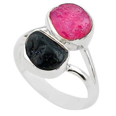 11.21cts natural pink ruby raw tourmaline rough 925 silver ring size 9 t20989
