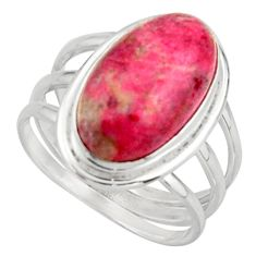 8.96cts natural pink thulite 925 silver solitaire ring jewelry size 9 d46551