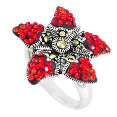 3.29cts natural pink topaz marcasite 925 silver star fish ring size 6.5 c21435