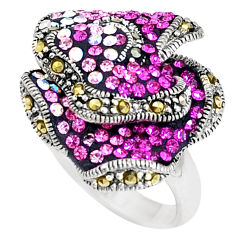 2.41cts natural pink topaz marcasite 925 sterling silver ring size 5.5 c21434