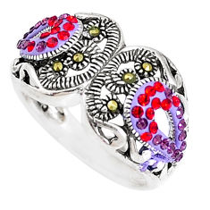 0.90cts natural pink topaz marcasite enamel 925 silver ring size 5.5 c21432