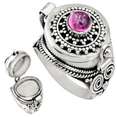 0.87cts natural pink tourmaline 925 silver poison box ring size 7 r30708