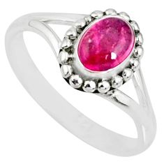 1.54cts natural pink tourmaline 925 silver solitaire handmade ring size 5 r82183