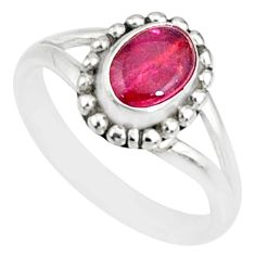 1.48cts natural pink tourmaline 925 silver solitaire handmade ring size 5 r82185